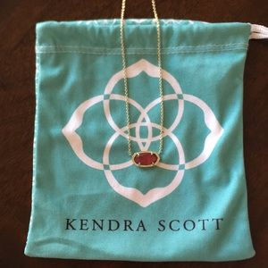 Kendra Scott Elisa Gold Pendant Necklace in Ruby